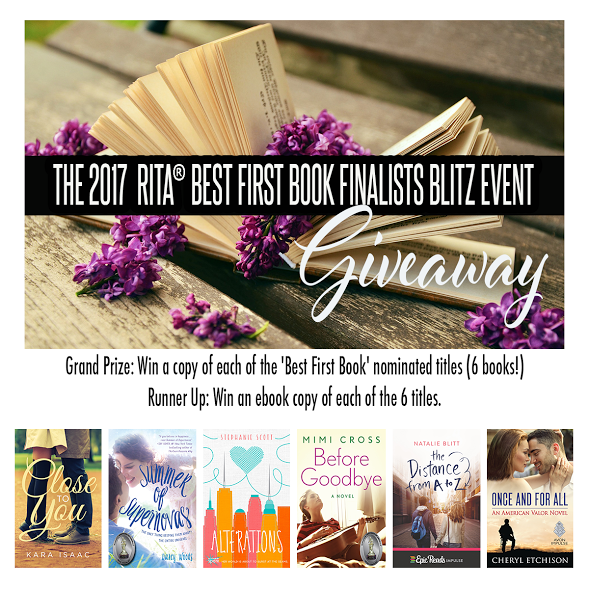 Grand Prize: Win a copy of each of the RITA 2017 'Best First Book' nominated titles (6 books!) Runner Up: Win an ebook copy of each of the 6 titles.